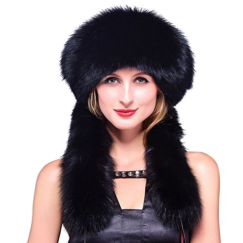 JJT Women's Winter Hat Raccoon Fur Russian Ushanka Hat For Ladies Keep Warm (Black)