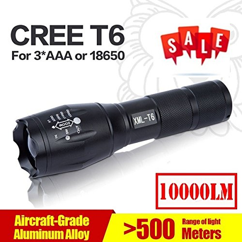 Qingdao Hot sales! E17 CREE XML T6 LED Zoom Flashlight Waterproof Torch 10000Lm 5 Mode Bright