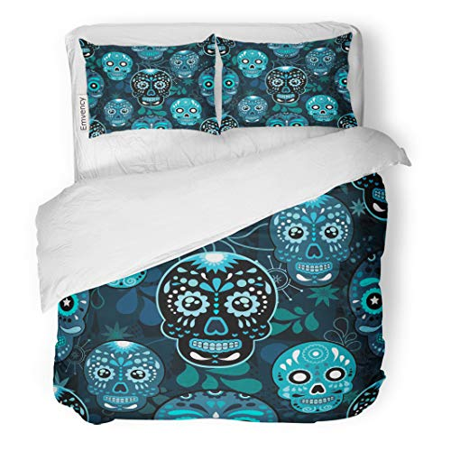 Semtomn Decor Duvet Cover Set Full/Queen Size Colorful Sugar Skull Floral and Flower Dia De Los 3 Piece Brushed Microfiber Fabric Print Bedding Set Cover -