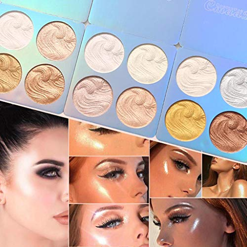 Makeup And Beauty Look 51HSeg0NaVL FINME Professional New Makeup Face Powder 4 Colors Bronzer Highlighter Powder Palette (B)