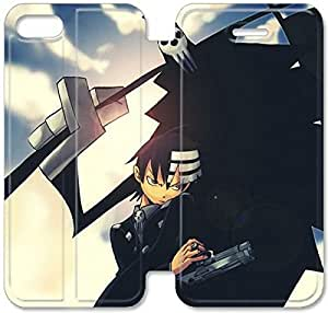 Caso de cuero del tirón 5.5 Soul Eater U7H44Z5 iPhone 6 6S Plus funda N1F18B3 del teléfono celular de casos de protección fundas