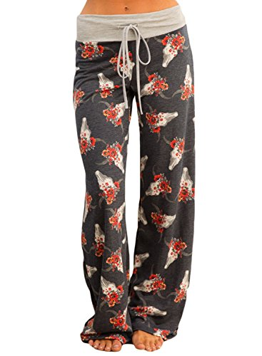 Women's High Waist Floral Print Loose Pants Leggings XX-Large