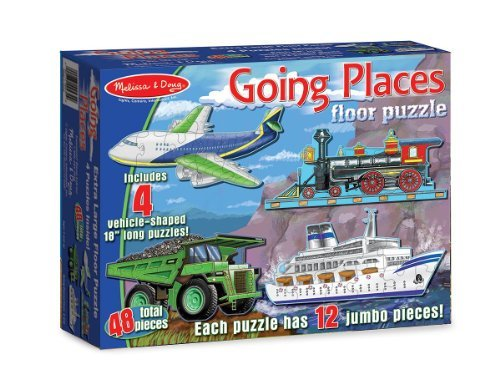 Going Places: 48-Piece Floor Puzzle + FREE Melissa & Doug Scratch Art Mini-Pad Bundle [04329]