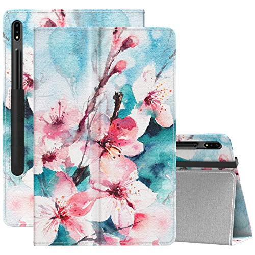 """MoKo Case Compatible with Samsung Galaxy Tab S7 11"""" 2020, Ultra Slim Tri-Fold Cover with Auto-Wake/Sleep & Pen Holder Fit Samsung Galaxy Tab S7 11 Inch 2020 SM-T870/SM-T875 ONLY - Peach Blossom"""