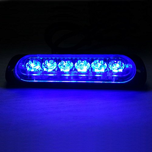 VSLED Universal 6-LED Blue Light 16-Flashing Mode Car Truck Warning Caution Emergency Construction Strobe LED LightBar