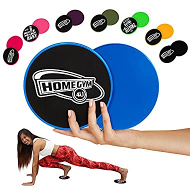 HomeGym 4U Set of 2 Gliding Discs, Dual Sided Sliders for Carpet or Hardwood Floor - Great Addition to Your Home Fitness Equipment - Core Workout Abdominal Exercise, Crossfit Routine, Cardio Training