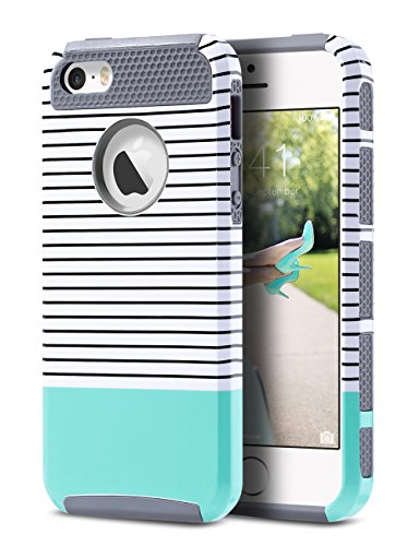 ULAK Case for iPhone SE/5S/5, Slim Fit Protection Case Hybrid Scratch Resistant Hard Back Cover Shock Absorbent TPU Bumper Protective Case(Minimal Mint Stripes+Grey)