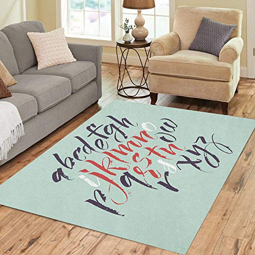 (Semtomn Area Rug 5' X 7' Hand Alphabet Letters Brush Drawn Lettering Paint ABC English Home Decor Collection Floor Rugs Carpet for Living Room Bedroom Dining Room)