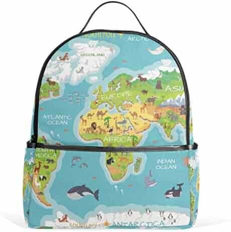 School Backpack for Girls Boys World Map Flora Animal Ocean Bookbag for 2th  3th 4th Grade ec879bf932