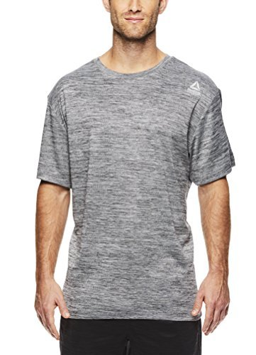 Reebok Men's Supersonic Crewneck Workout T-Shirt Designed with Performance Material - Dark Shade Space Dye Grey, Large - Space Shades