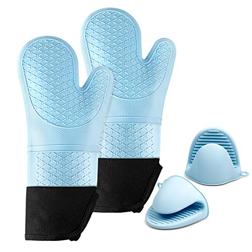 MAXZER Oven Mitts, Lengthen and Thicken Professional Silicone Oven Mitt with Liner, Heat Resistant Pot Holders, Flexible Oven Gloves, 1 Pair with 2 Mini Mitts