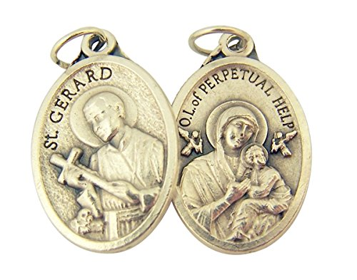 Silver Toned Base Saint Gerard with Our Lady of Perpetual Help Medal, 1 Inch, Set of (Perpetual Base)
