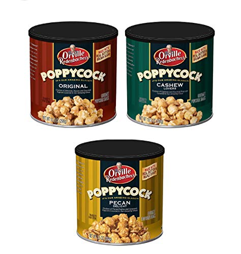 Bundle of 3 Gourmet Variety Canisters: Orville Redenbachers Poppycock Original Clusters, Cashew lovers and Pecan Delight