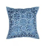 Ganesham- Blue Embroidery Work Handmade Pillow Insert, Pillow Throw, Decorative Sofa Boho Chic Indian Cushion Cover