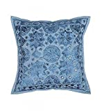 Ganesham- Blue Embroidery Work Handmade Pillow Insert, Pillow Throw, Decorative Sofa Boho Chic Indian Cushion Cover