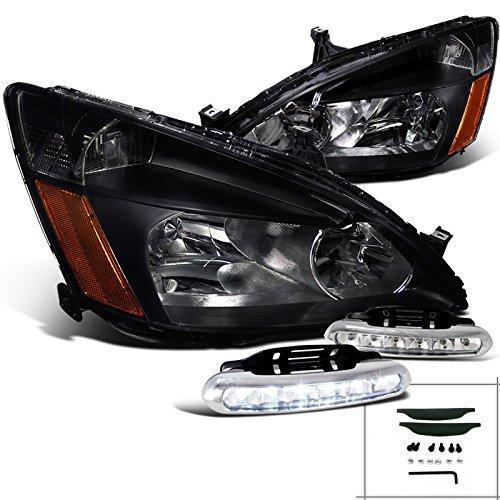 JDM Black Honda Accord Headlights w/ LED DRL Daytime Running Fog Lamps Honda Accord Euro Clear Corner