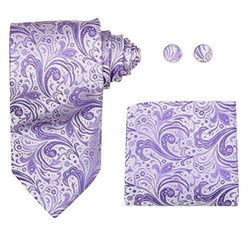 White pattern neckties gifts for him Italian style Purple silk ties cufflinks hanky set H6009  Purple