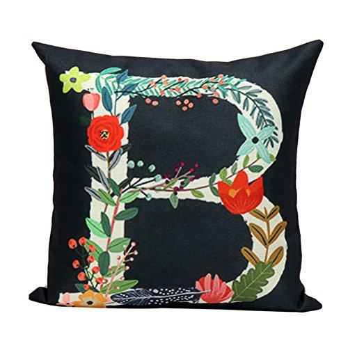 Letter Pillow (YANGYULU Oil Painting Flowers Letters White Linen Home Decor Throw Pillow Case Sofa Cushion Cover 18