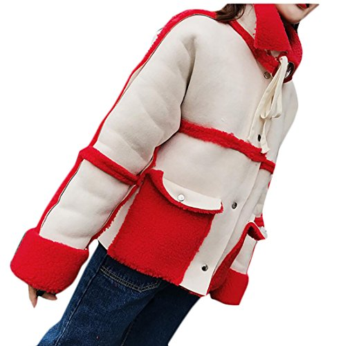 UK Long today Coat Sleeve Lapel Thicken Jacket Suede Womens Stitching Lamb Short Wool Red fqwAdwS