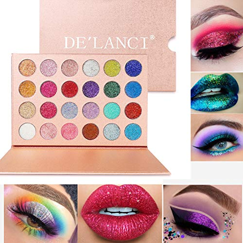 - DE'LANCI Pressed Glitter Eyeshadow Palette - Professional Highly Pigmented and Long-Lasting Mineral Shimmer Makeup Pallet Eye Shadows Flash Color Waterproof Cosmetic Set(Cruelty Free,24 Color)
