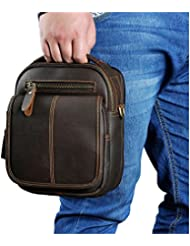 Leaokuu Mens Leather Fashion Designer Casual Messenger Shoulder Bag Organizer Hunting Fanny Waist Belt Bag Pack