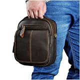 Le'aokuu Mens Genuine Leather Fanny Messenger Shoulder Satchel Waist Bag Pack (The 8025 brown)