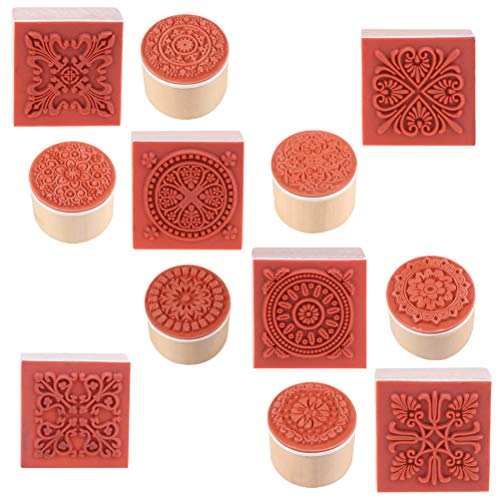 Cooyeah 12 Pieces Wooden Stamps Floral Pattern Circles and Squares Decorative Rubber Wooden Stamps for DIY Craft Card and Scrapbooking Doily Lace Ink Pad