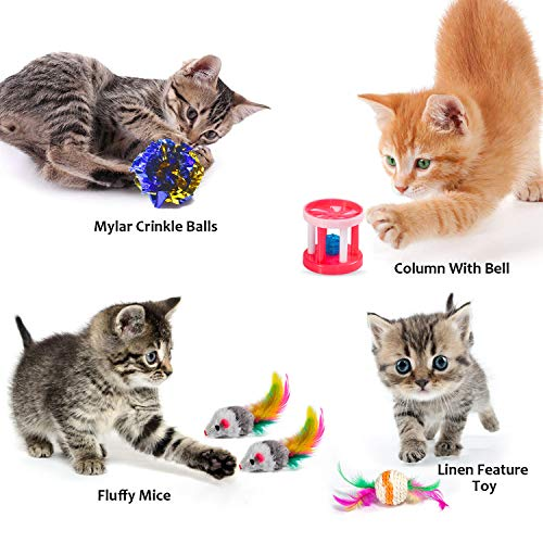 AILUKI 31 PCS Cat Toys Kitten Toys Assortments Variety Catnip Toy Set Including 2 Way Tunnel,Cat Feather Teaser,Catnip Fish,Mice,Colorful Balls and Bells for Cat,Puppy,Kitty