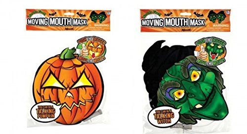 Talking Heads Halloween Moving Mouth Mask - (Pack of 2) | Witch & Pumkin Paper Face