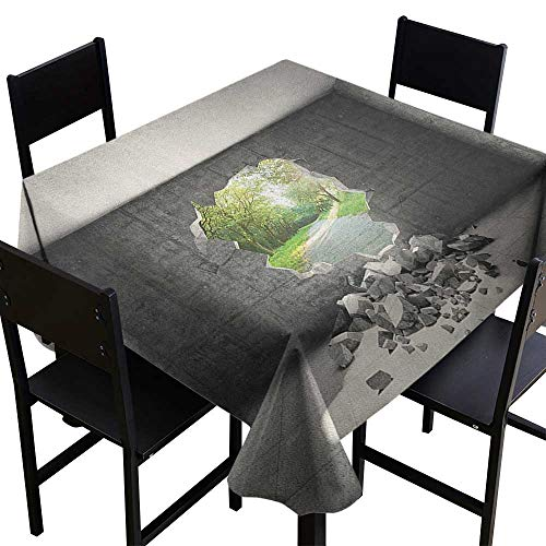 SKDSArts Outdoor Tablecloth Grey,Concrete Room with a Hole