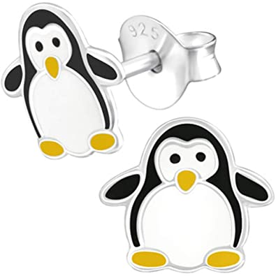 Kinder Mädchen Ohrstecker Ohrschmuck Pinguin 925er Silber Ohrringe Kinderschmuck