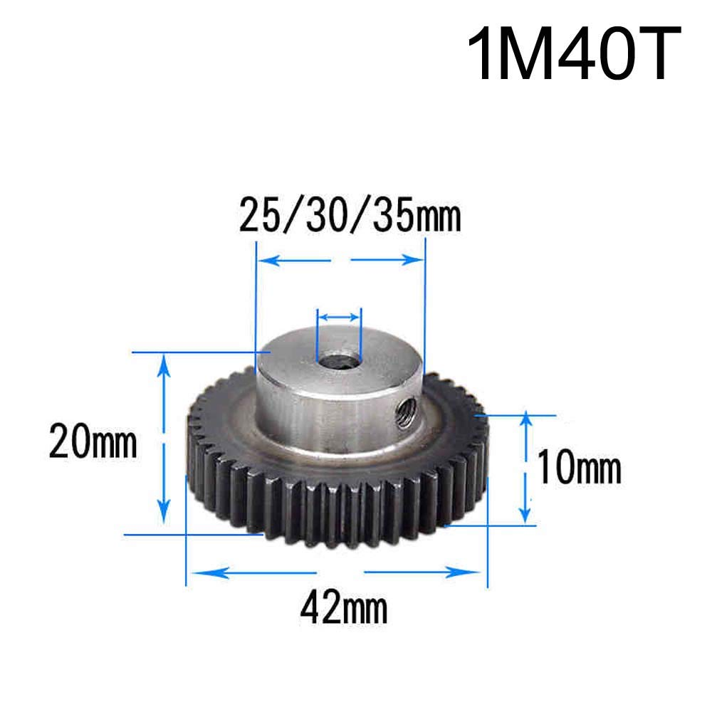 1 Mod 40T Steel Pinion Gear 1M40T Motor Spur Gear Bore 15mm Outer Diameter 42mm Bore 15mm