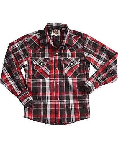 ELY CATTLEMAN Boys' Long Sleeve Lurex Plaid Snap Shirt Red Small (Lurex Shirt Plaid)