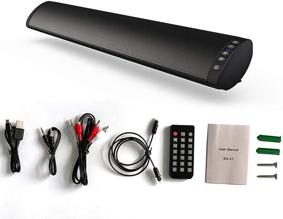 Barra de Sonido Bluetooth Altavoces inalámbrico para TV, Cine en casa de 360 ° Sonido Envolvente estéreo,TF Tarjeta/Disco Bluetooth U/3,5 mm de Fibra óptica/RCA,Puede ser montado en la Pared: Amazon.es: Hogar