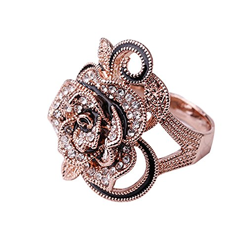 JUST N1 Mother's Day Gift Rose Gold Plated Womens Gothic Vintage Big Rose Flower Crystal Cast Band Ring Mother Of Pearl Flower