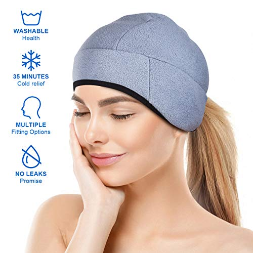 Headache and Migraine Relief Cap,A Headache Ice Hat for Migraine Headaches and Tension Relief,Adjustable, Grey, Comfortable, Long Cool (Best Pain Relief For Migraine Headaches)