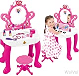 WolVol 2-in-1 Kids Vanity Playset with Musical Piano and Flashing Lights, Mirror, Cosmetics, Working Hair Dryer, Glowing Princess will Appear when Pressing the Button on the Mirror