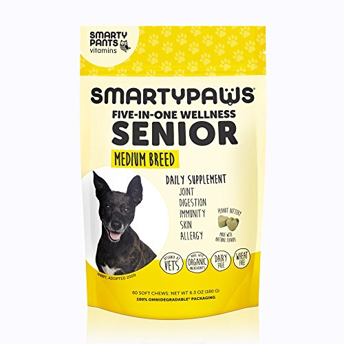 Cheap Smartypaws Dog Supplement Chew- Glucosamine & Chondroitin + Msm For Joint Support, Fish Oil Omega 3 (Epa & Dha), Probiotics, Organic Turmeric: Senior Medium Breed – By Smartypants Vitamins – 60 Ct