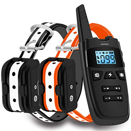WDFZONE Dog Training Collar with Remote for 2 Dogs Waterproof Rechargeable Shock Collar with Remote for Small Medium…