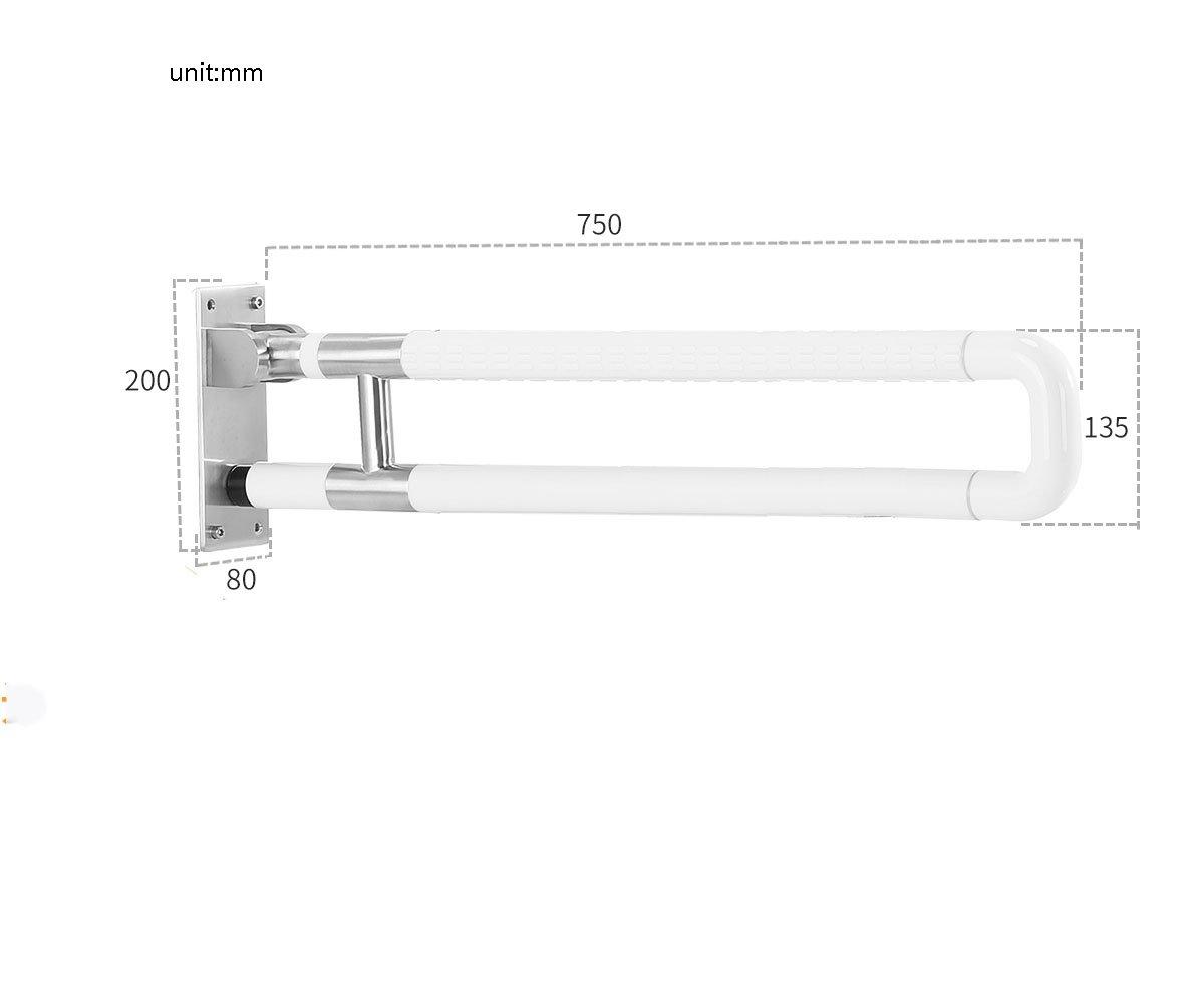 バスルーム手すりナイロンステンレススチールダブルポール折りたたみUpturningホワイト ( 設計 : C , サイズ さいず : 75 cm 75 cm ) B07CNXJ9FK 75 cm 75 cm C C 75 cm 75 cm