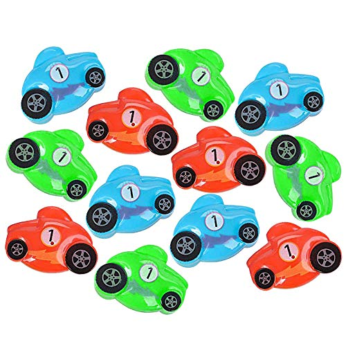 Race Car Easter Eggs - Pack of 12 2.5'' Plastic Car-Shaped Eggs for Easter Basket Fillers, Treasure Chest Stuffers, Novelty Toy, Party Supplies ()