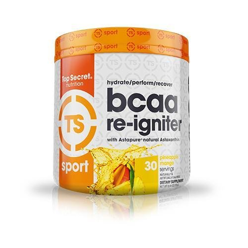 Top Secret Nutrition BCAA Re-Igniter Vegan Amino Acid Supplement with Astaxanthin and Electrolyte, Hydration Blend with Coconut water, 9.84 oz (30 servings), Pineapple ()