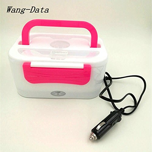 (Wang-Data Portable 12V Car Use Electric Heating Lunch Box Bento Meal Heater Food Warmer 45W Pink)