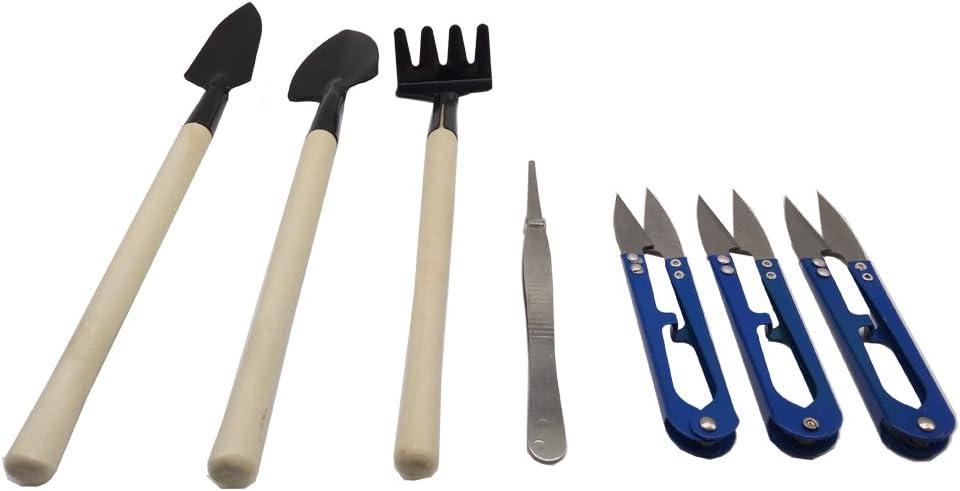 Kaptin 7pcs Bonsai Set Kit, Mini jardín herramientas de mano incluye tijeras de podar, Mini rastrillo, Bud y cortadora de hojas Set