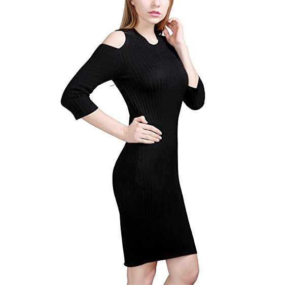 Zicac Womens Off Shoulder Half Sleeve Midi Sweater Dress Sexy