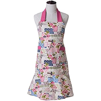 KINGO HOME Adjustable 100% Cotton Garden Cooking Women Kitchen Bib Apron, with Pockets, Cotton Canvans, Machine Washable