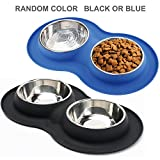 Roysili Double Dog Bowl Pet Feeding Station, Stainless Steel Water and Food Bowls with Non Skid Non Spill Silicone Mat, Premium Quality Dog Bowl Holder for Small Medium Dogs Cats Puppy (Small, Random)