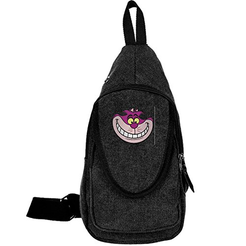 Alice In Wonderland King Of Hearts (Cheshire Cat Casual Canvas Unbalance Backpack Sling Bag Men Shoulder Bag Chest Bag)