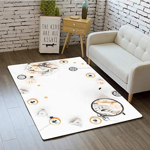 MTSJTliangwan 3D Printing Hot Chocolate for Halloween Flat Lay top View Bathroom Carpet Flannel Foam Shower mat Absorbent Living Room Kitchen Door Carpet Floor mat ()