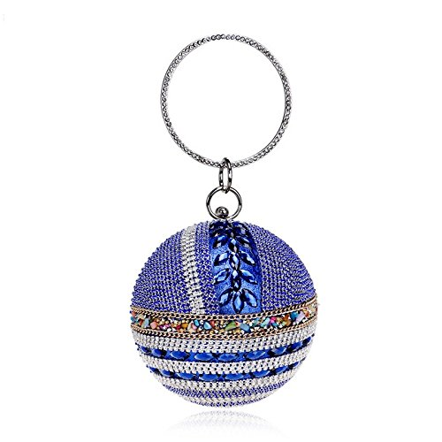 Women Blue Evening Wedding Glitter Clutch Handbag Gift Bag For Prom Bridal Party Ladies Spherical Diamante Purse Bag SequinShoulder Clubs rwxrqU7nC